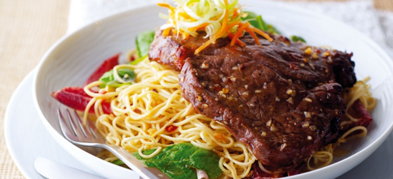 Sticky Steaks with Noodles